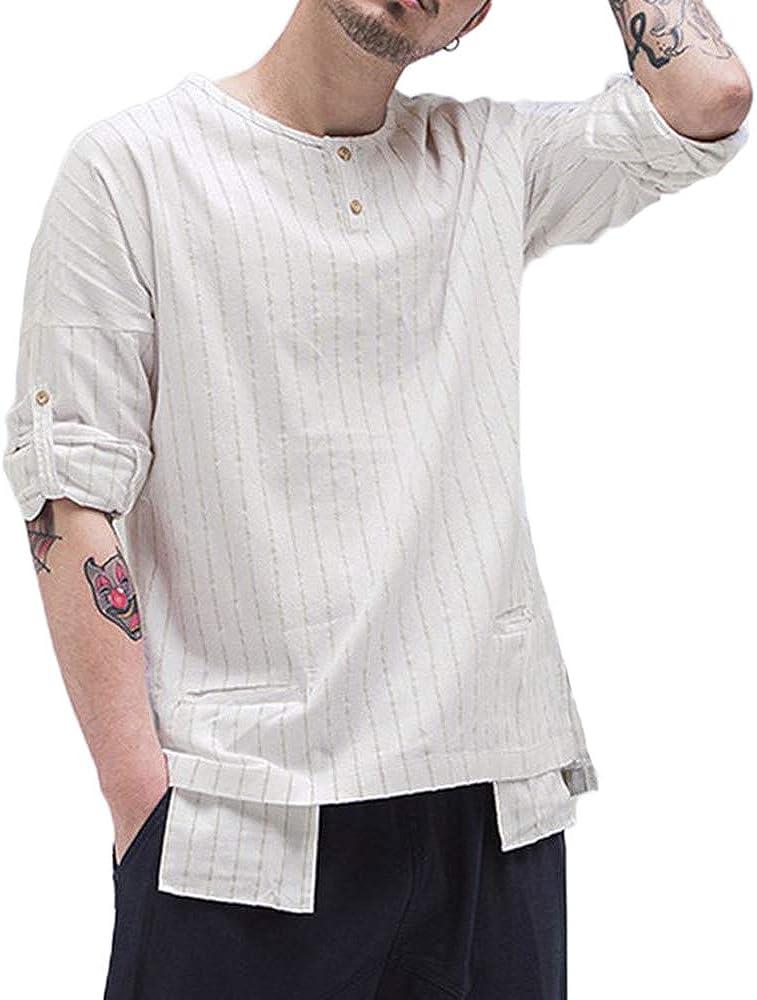 Mens Long Sleeve Stripe Cotton Linen Henley Shirt Tops Pocket Loose Casual Vintage T-Shirt Pullover