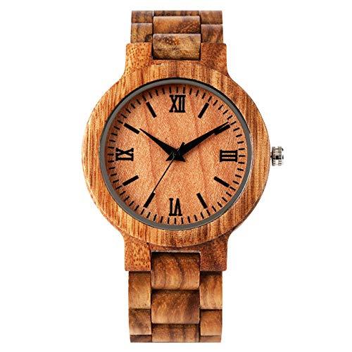 STEDMNY Reloj de Madera Reloj de Madera para Hombre Relojes con Brazalete de Madera Cierre Plegable Números Romanos Pantalla Reloj de Pulsera de Cuarzo Reloj Masculino, marrón
