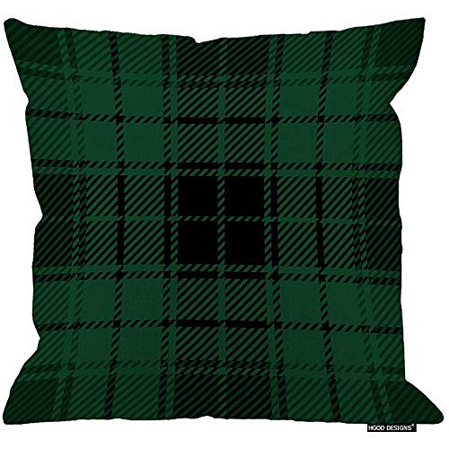 Marlon Kitty Cojín de tartán, Verde y Negro Funda de cojín escocés de tartán Tejido escocés Verde Funda de cojín