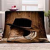 Mikrofaser Fleecedecke Western Cowboy Ausrüstung Luxuriöse Leichte Tagesdecke, Decken Für Alle Jahreszeiten, Warm, Solide Decken Für Bett, Couch, Sofa, Zwillings-/Doppelbettgröße, 150 X 200 cm