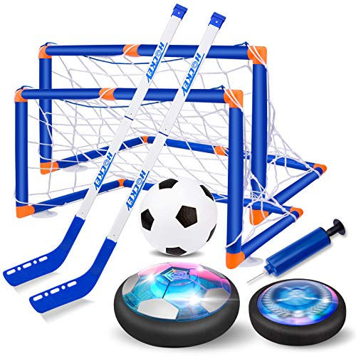 Nazano 2-in-1 Hover Hockey Soccer Set, USB Rechargeable and Battery Hovering Hockey Game with 3 Goals and Led Lights, Indoor Outdoor Games Toys Gifts for Kids Boys Girls Aged 3 4 5 6 7 8-12