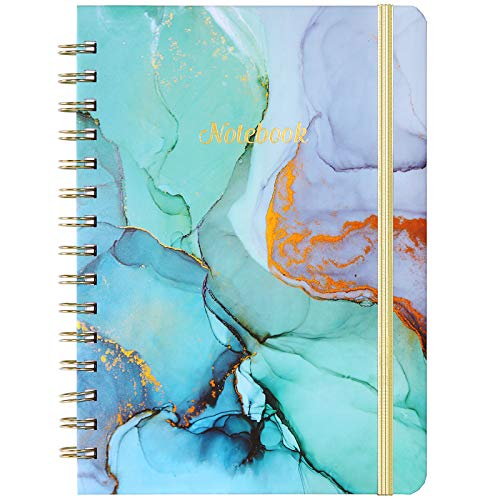 Reglementiertes Notizbuch/Tagebuch- Gefüttertes Journal mit Rückentasche und Hardcover, College Ruled Spiral Notebook/Journal, 8,4