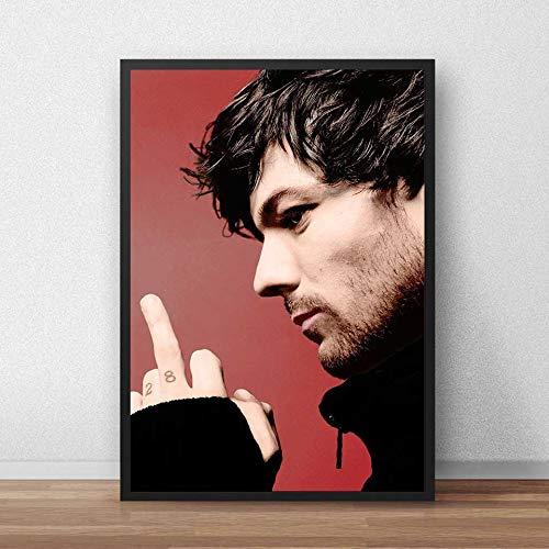 ANnjab Britischer Sänger Louis Tomlinson Poster Diamantmalerei 5D DIY von Strass Diamant Stickerei 3D Kreuzstich Home Decor (Quadrat 40x50cm)