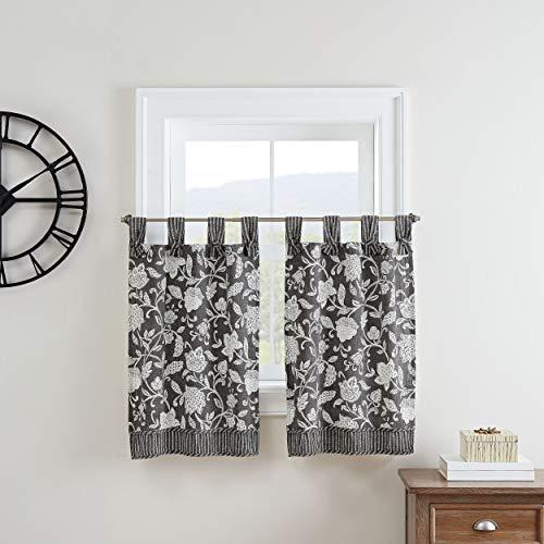 "Waverly Stencil Vine Small Panel Tiers Privacy Window Treatment Pair Bathroom, Living Room, 52"" x 36"", Black"
