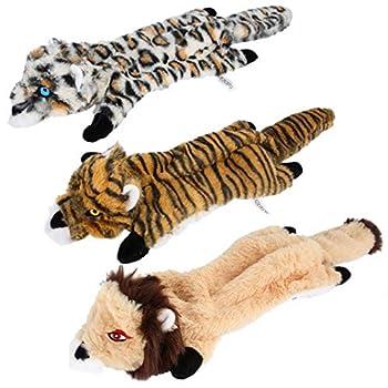 AOOPOO Lot de 3 Jouets pour Chien avec couineur en Peluche Durable pour Chiens de Taille Moyenne et Grande-Tigre,Léopard de Lion