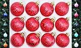 Jack 12x Glas Eislack Christbaumkugeln 6cm Thüringer Weihnachtskugeln Kugeln, Farbe:Rot Eislack