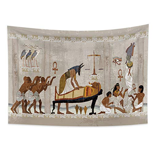 YongFoto 59.1x39.4 inches Egyptian Tapestry Wall Hanging Ancient Egypt Mythology Tapestry Egyptian Gods Pharaohs Hieroglyphic Carvings Tapestries for Bedroom Home Decor
