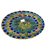 NGFF Peacock Feathers Circle Traditional Christmas Tree Skirt Santa & Reindeer Tree Ornaments Tree Skirt for Christmas Decoration