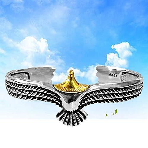 925 Sterling Silver Eagle Cuff Bracelet, Unisex Open Ended Vintage Rock Punk Viking Raven Eagle Bracelet Pagan Retro Eagle Feather Wings Resizable Bracelets (Gold)