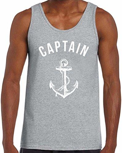 Awkwardstyles Men's Captain Tank Top White Anchor Beach Party Tank + Bookmark L Gray