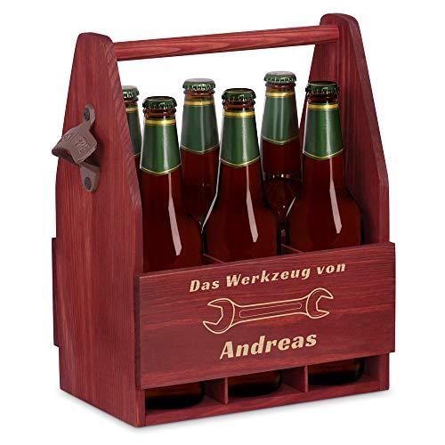 Murrano Bierträger für 6 Flaschen 0,5L + Gravur - Männerhandtasche mit Flaschenöffner - Größe: 25x17x32cm - aus Holz - Geschenk für Männer zum Geburtstag - Werkzeug