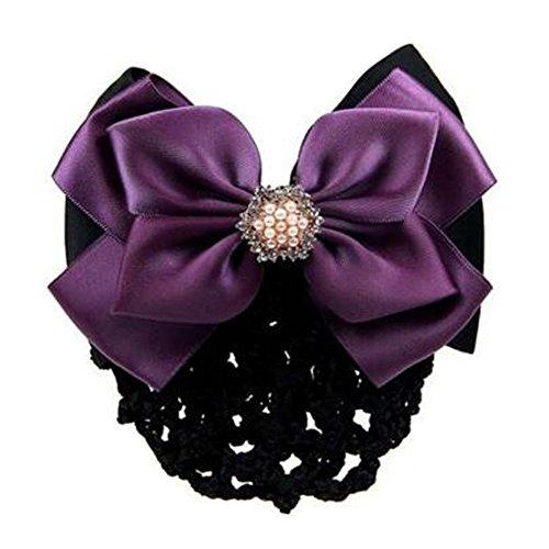 2 pcs bowtie maille cheveux barrette snood élastique coiffure coiffure pour les dames, Violet