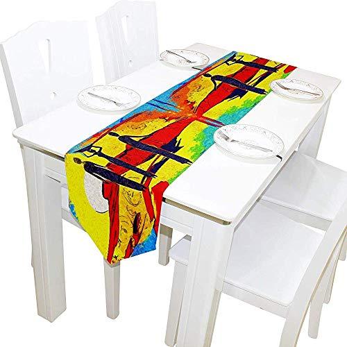 BI HomeDecor Tischläufer,Abstrakte Afrika Retro Vintage Style Frauen Kunstwerk Hochwertige Tischdecken Abdeckungen Für Hochzeitsfest Dekoration 33x178CM