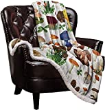 Big buy store Sherpa Flannel Throw Blankets Wild Mushrooms Luxury Plush Thick Blanket Reversible Soft Warm Bed Blanket for Couch Sofa Colorful 40 x 50 inch