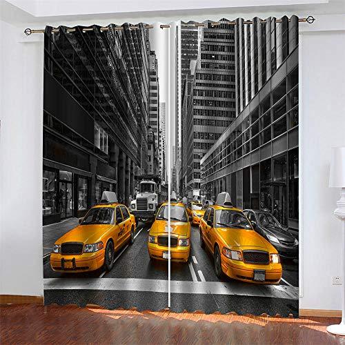 LLWERSJ Vorhänge Blickdicht New Yorker Taxi Kinder Vorhang Blickdicht Thermovorhang Verdunkelungsvorhänge mit Ösen für Wohnzimmer Schlafzimmer Kinderzimmer 2er Set B140 x H245cm