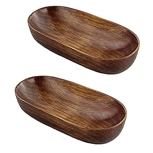 2 Pcs Boat Shape Wooden Towel Tray Small Salad Bowls Fruit Dishes Catchall Storage
