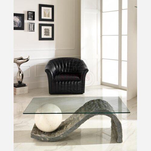 Desconocido Mesa de Centro de Cristal y Piedra Elegante salón Comedor Art. ST555