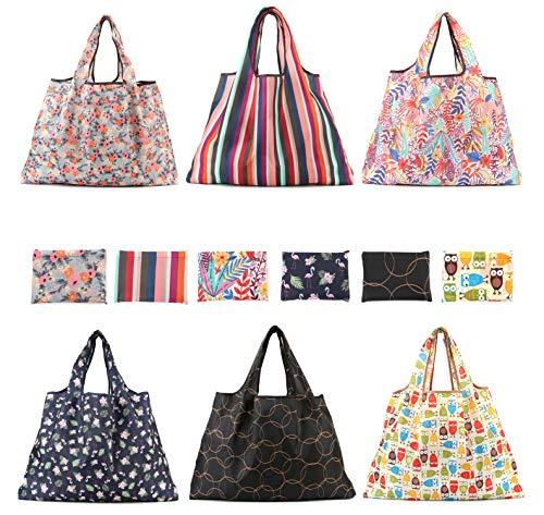 Lawei 6 Stück Einkaufstaschen Wiederverwendbar Faltbar Einkaufstüten Groß Tragbar Einkaufstasche Strapazierfähig, 40 x 50 cm