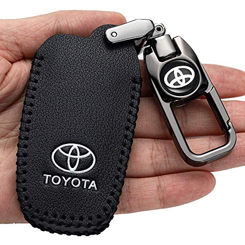 Car Key Case - Genuine Leather Protector Keychain suit for Toyota with 2018-2020 Toyota RAV4 Camry Avalon C-HR Prius Corolla(only for Keyless go) 4Buttons key fob cover case key holder