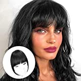 HANYUDIE Clip in Bangs 100% Human Hair Bangs One Piece Fringe Natural Real Human Hair Flat Neat Bangs with Gradual Temples One Piece Hairpiece for Party and Daily Wear(Natural Black )