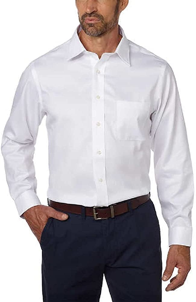 Kirkland Signature Men's Tailored Fit 100% Cotton Non-Iron Spread Collar Dress Shirt