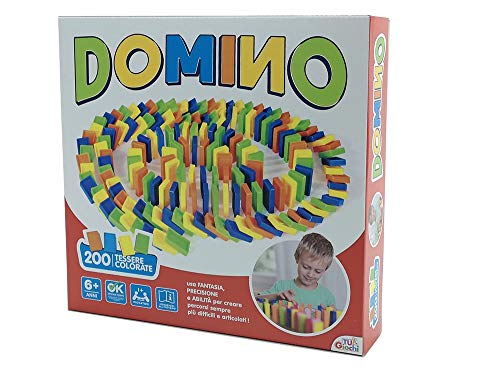 Gioco Domino Run con 200 tessere colorate in plastica da 3cm con accessori e scale e campanello per creare percorsi mozzafiato, adatto a partire da 6 anni