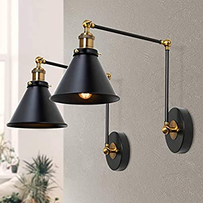 LNC Wall Sconces, Swing Arm Plug-in or Hardwire Lamp Antique Brass and Black Matte Finish (2 Pack) A03469