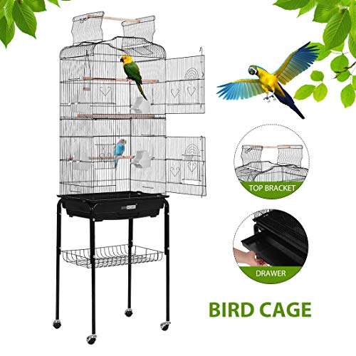 VIVOHOME 59.8 Inch Wrought Iron Bird Cage with Play Top and Rolling Stand for Parrots Conures Lovebird Cockatiel Parakeets