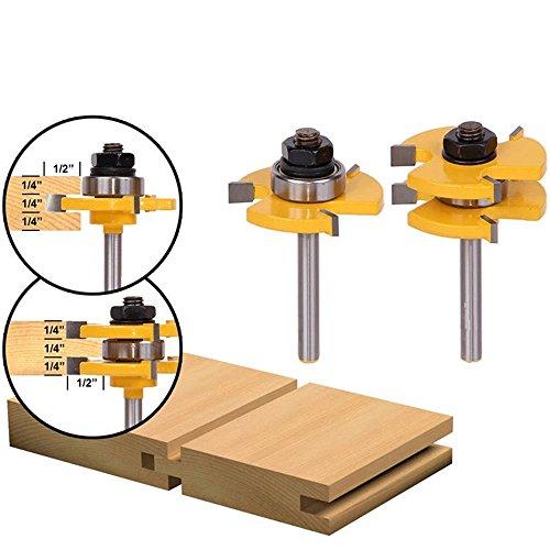 "2Pcs Nut und Feder Fräser Set, 4EVERHOPE Holz Tür Bodenbelag 3 Zähne verstellbar, 1/4\""/6.35mm Schaft T Form Holz Fräser Holzbearbeitung Werkzeug"