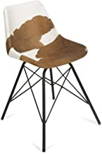 Boho Traders Dining Chair with Iron Legs Cowhide Dining Chair with Iron Legs, Tan/White