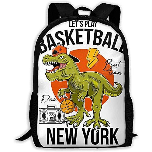 wobuzhidaoshamingzi School Rugzak T-rex Spelen Basketbal Dinosaur Boekentas Casual Reistas voor volwassenen