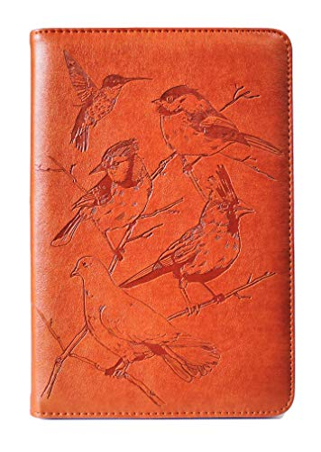 Birds Writing Journal by SohoSpark, Refillable Faux Leather, Lined Personal Diary for Travel, 6x8.75 Notebook for Writers. Fountain Pen Safe with Lay-Flat Binding.
