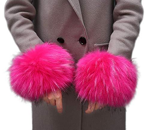 Cheerlife Fell Pelz Armstulpen Stulpen Manschetten Fellstulpen Handschuhe Pulswärmer Kunstfell Pink 3