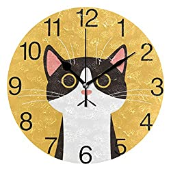 senya Cute Black Cat Face Design Round Wall Clock, Silent Non Ticking Oil Painting Decorative for Home Office School Clock Art