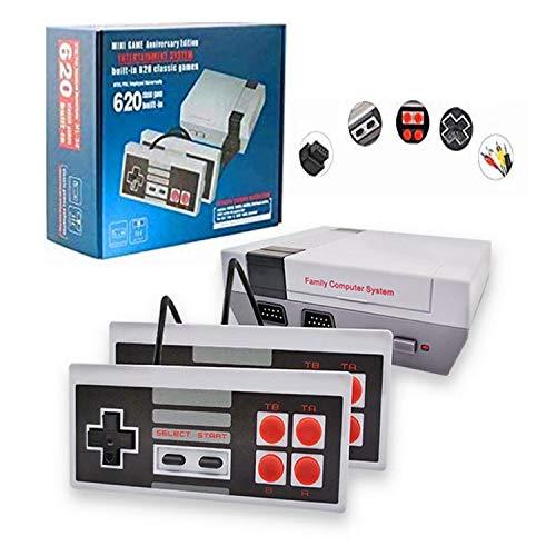 HUADEYI Classic Mini Nostalgic Game Console TV Game Console Tile Version 620 Games Game Console with 2 NES Controllers and AV Output (Gray-2)