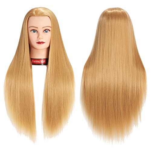 66 cm-28 Mannequin Kopf Hair Styling Training Head Schraubenmännchen Kosmetologie Puppe Kopf Kunstfaser Haar Friseur Training Modell mit inklusive Klemme (Blond)