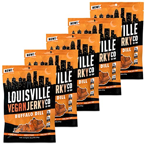 Louisville Vegan Jerky - Buffalo Dill, Vegetarian & Vegan-Friendly Jerky, 21 Grams of Non-GMO Soy Protein, 210 Calories Per Bag, Gluten-Free Ingredients (3 oz, 5-Pack)