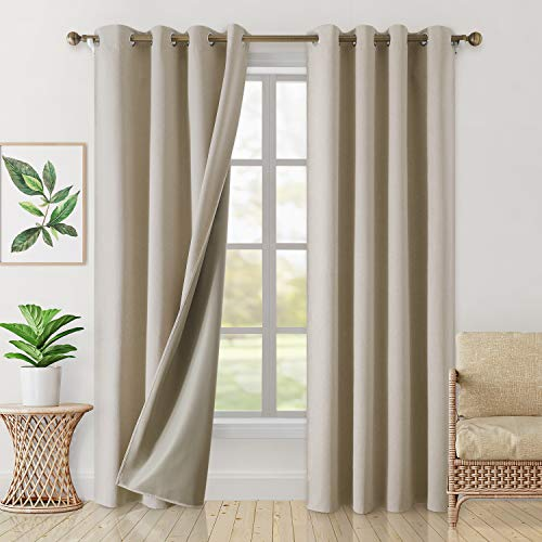 HOMEIDEAS 100% Blackout Curtains 2 Panels Faux Linen Curtains Natural Room Darkening Curtains 52 X 96 Inches Thermal Insulated Grommet Window Curtains/Drapes with Liner for Living Room/Bedroom