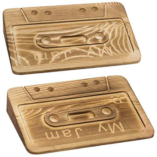 "MyGift \""My Jam Retro-Kassettenband-Design, braun, verbranntes Holz, Türstopper, 2er-Set"
