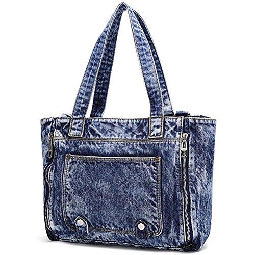 Donalworld Women Casual Denim Shoulder Bag Tote Handbag Blue