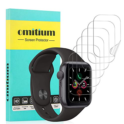 omitium Protector de Pantalla Apple Watch 44mm Series 5/4, [6 Packs] Apple Watch 42mm Series 3/2/1 Película Protector de TPU [Cobertura Completa] Sin Burbujas Alta Definición iwatch Film Protector