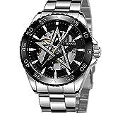 Excellent Reloj para Hombre Reloj mecánico de Estrella de Cinco Puntas automáticas para Hombres Reloj de Pulsera Casual con Manos Luminosas dial Redondo 3atm 30 Metros Impermeable,C02
