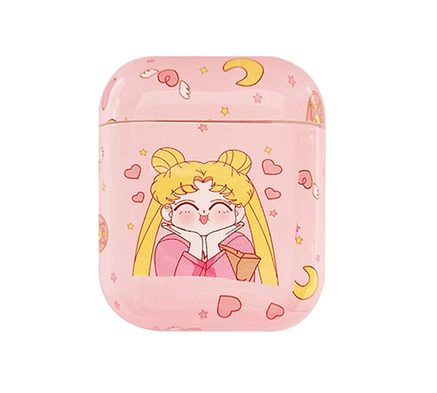 Cartoon Case for Apple Airpods 1 & 2 Charging Case, Cute Japan Anime Sailor Moon Hard Protective Case for Airpod Cover for Kids Teens Girls (Smile)