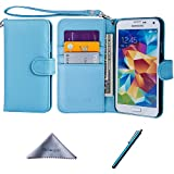Wisdompro Galaxy S5 Case, Premium PU Leather 2-in-1 Protective Flip/Folio Wallet Case with Multiple Credit Card/ID Card Holder/Slots and Wrist Lanyard for Samsung Galaxy S5 - Blue