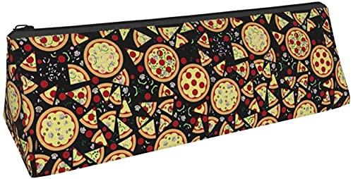 Bolsa de lápiz triangular para pizza, comida con salchicha negra, bolsa de cosméticos, bolsa con cremallera para almacenamiento diario de objetos pequeños en la escuela, oficina, viajes o maquillaje.