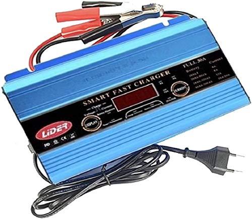 LIDER-Cargador de Batería Coche y Moto 30A 12V Súper Nuevo Diseño Mantenimiénto Automático Controlado por Micro Procesador Inteligente con Pantalla LCD con Múltiples Funciones