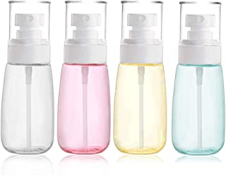 JOSALINAS 4PCS Fine Mist Spray Bottle 2oz/60ml Plastic Empty Clear Refillable Travel Container Essences Rose Water Mister