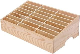 Lzttyee Wooden 24-Grid Cell Phones Storage Box Desktop Mobile Phone Holder Organizer for Office School