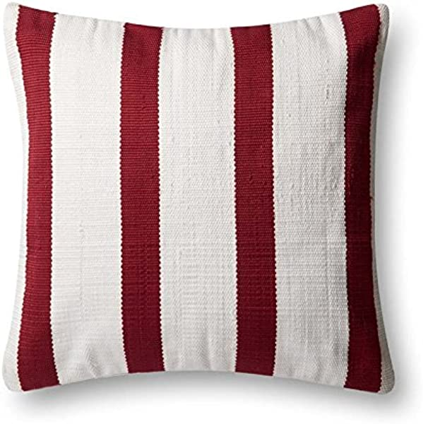 Loloi Poly Set Red Ivory Decorative Accent Pillow 22 X 22 Cover