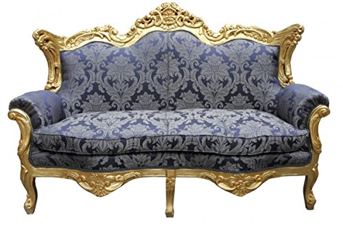 Casa Padrino Barock 2er Sofa Master Royal Blau Muster/Gold 2Mod - Wohnzimmer Couch Möbel Lounge